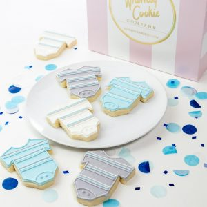 Add a set of Baby Boy Onesie themed cookies to your order