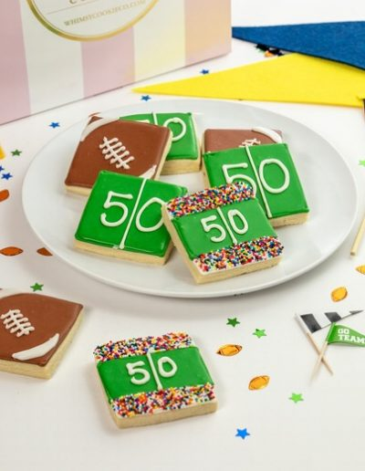 Add a set of these Football themed cookies to your order