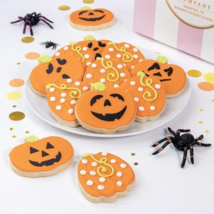 Add a set of our Jack-o-lantern themed cookies to your order