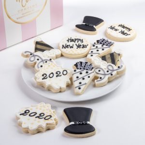 Add an order of these snazzy Happy New Year themed cookies to your order